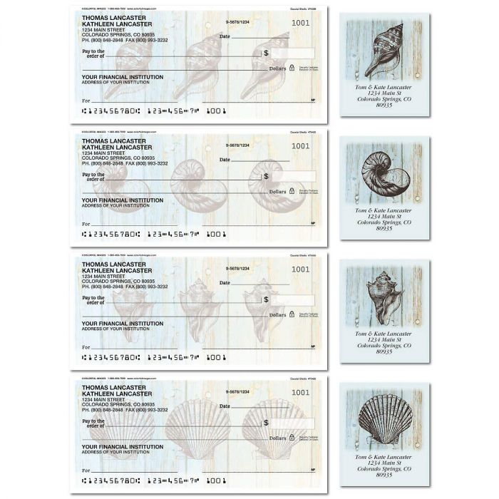 Coastal Shells Single Checks with Matching Labels