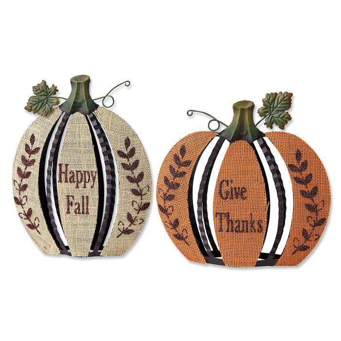 Metal and Burlap Pumpkins