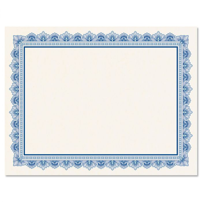 Intricate Blue Certificate on White Parchment - Set of 25