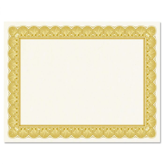 Gold Certificate on White Parchment - Set of 50