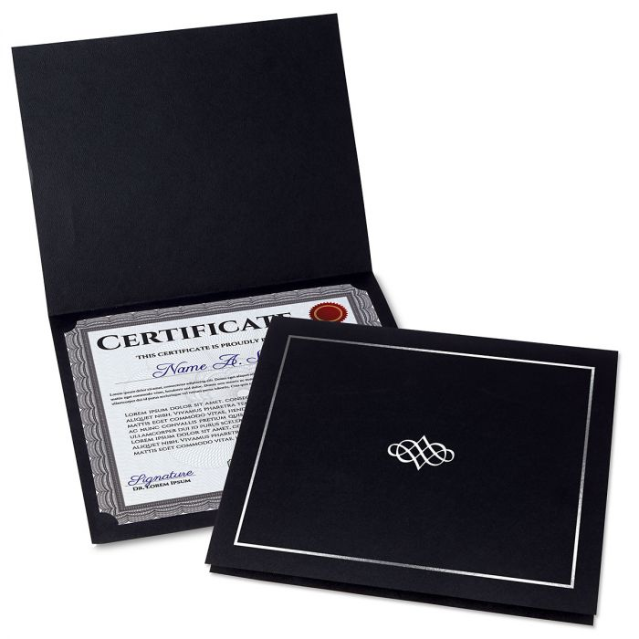 Ornate Black Certificate Folder with Silver Border/Crest