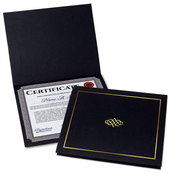 Ornate Black Certificate Folder with Gold Border/Crest - Set of 25