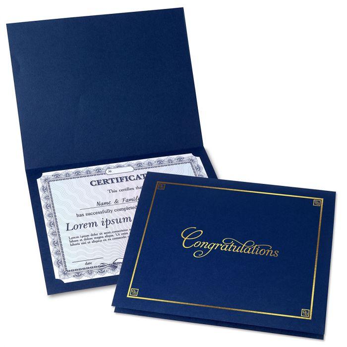 Congratulations Blue Certificate Folder with Gold Border
