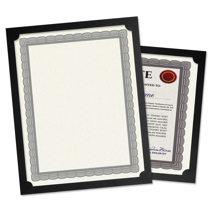 Plain Black Certificate Holder - Set of 25