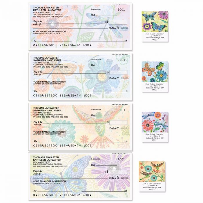 Floral Flight Single Checks with Matching Address Labels