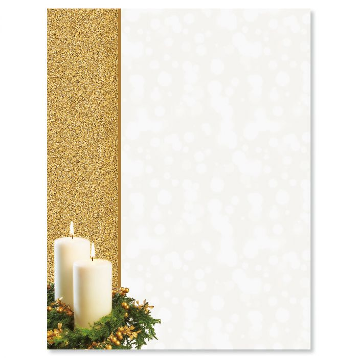 Gold Candle Christmas Letter Papers
