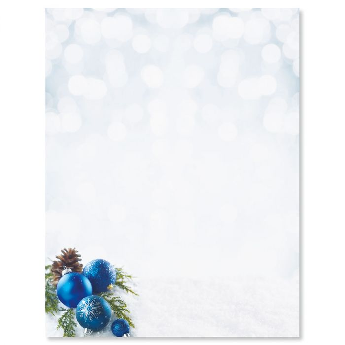 Blue Ornaments Christmas Letter Papers