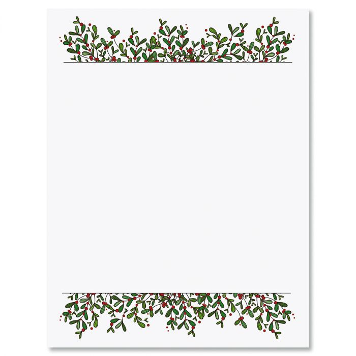 Mistletoe Frame Christmas Letter Papers