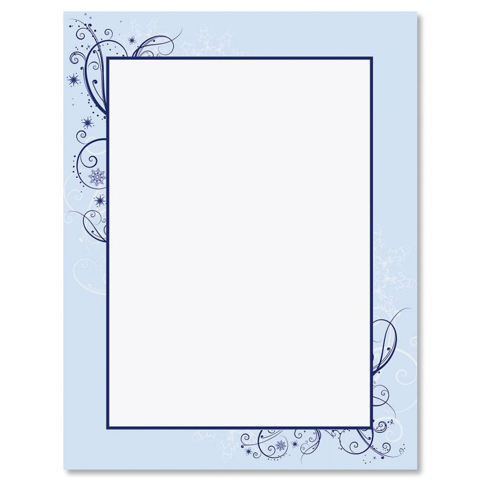 Frosted Glimmer Frame Christmas Letter Papers