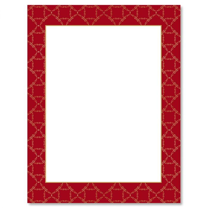 Red Damask Frame Christmas Letter Papers