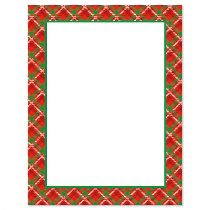 Plaid Frame Christmas Letter Papers