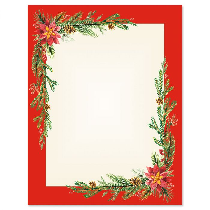 Festive Foliage Frame Christmas Letter Papers