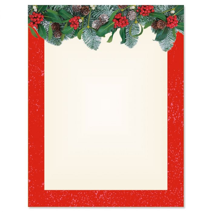 Red Winter Filigree Christmas Letter Papers