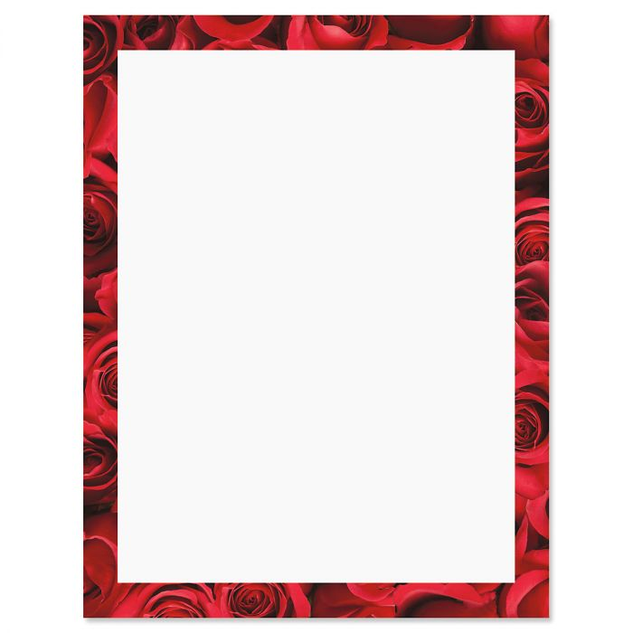 Bed of Roses Frame on White Valentine's Day Letter Papers