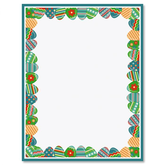 Blue Frame Easter Eggs Easter Letter Papers