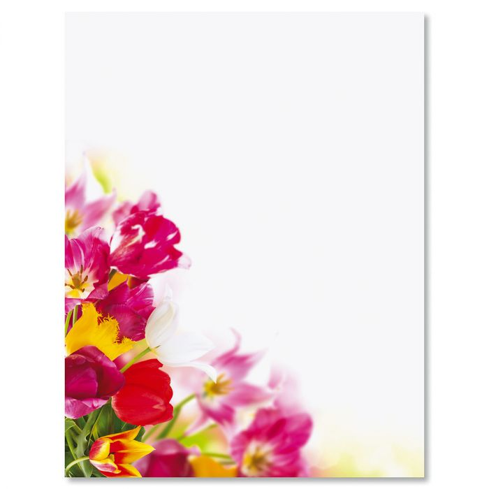 Tulip Bouquet Easter Letter Papers