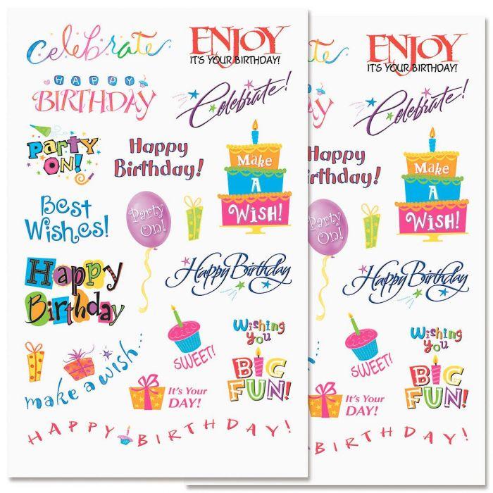 Birthday Word Stickers - BOGO