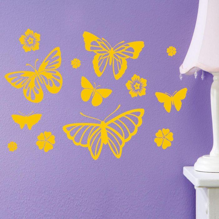 Butterflies & Flowers Vinyl Wall Art