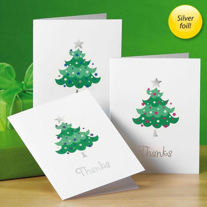 Trendy Tree Foil Thank You Cards -  BOGO