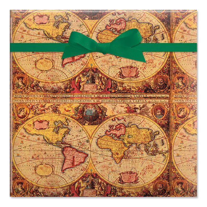 Map Jumbo Rolled Gift Wrap
