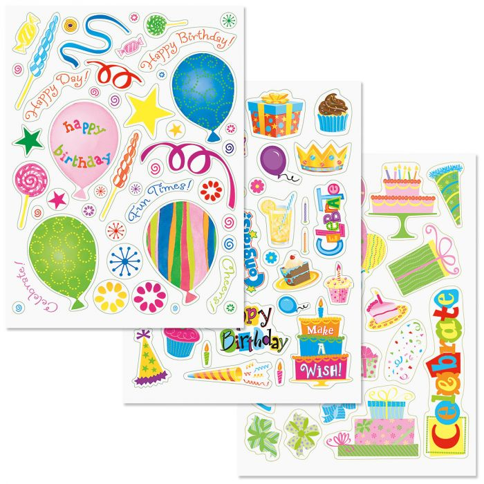Bright Birthday Stickers