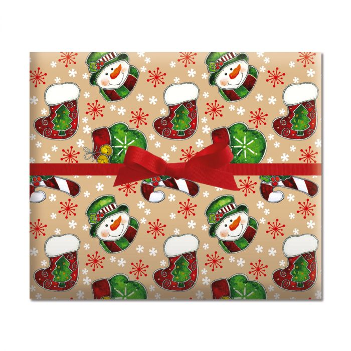 Country Mitten & Stocking Jumbo Rolled Gift Wrap