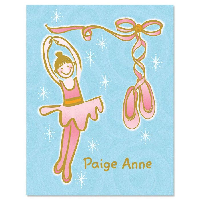 Ballet Slippers Kids Personalized Note Cards