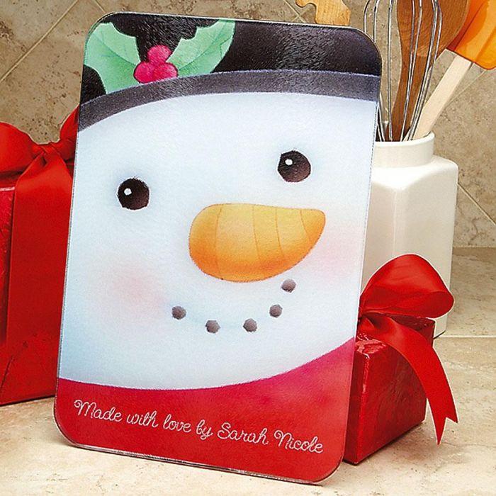 Snowman Tempered Glass Cutting Board