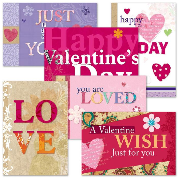Bright and Bold Valentines Day Cards Value Pack
