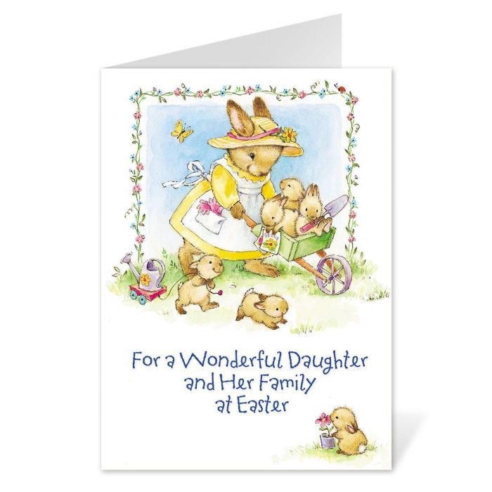 To Daughter and Family Easter Card