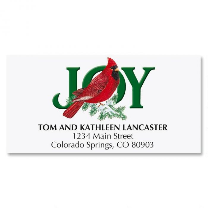 Cardinal Joy Christmas Address Labels