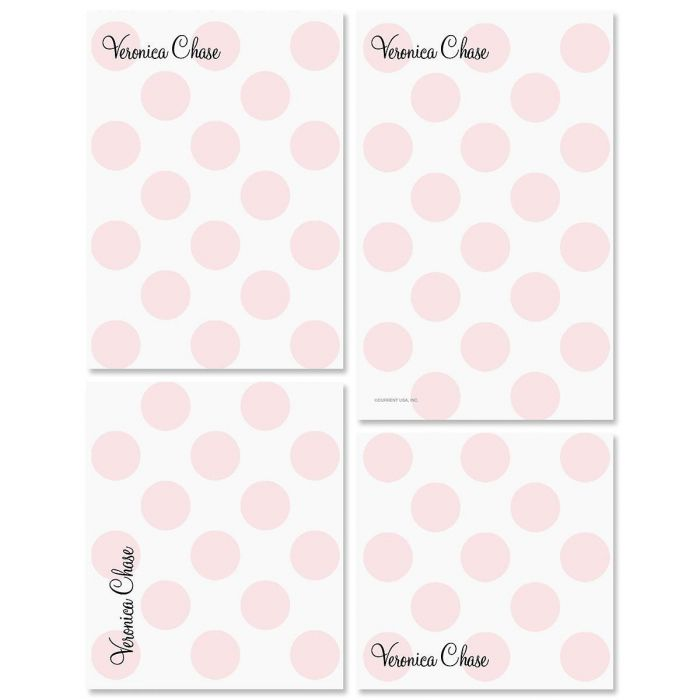 Pink Dots Personalized Notepad Set