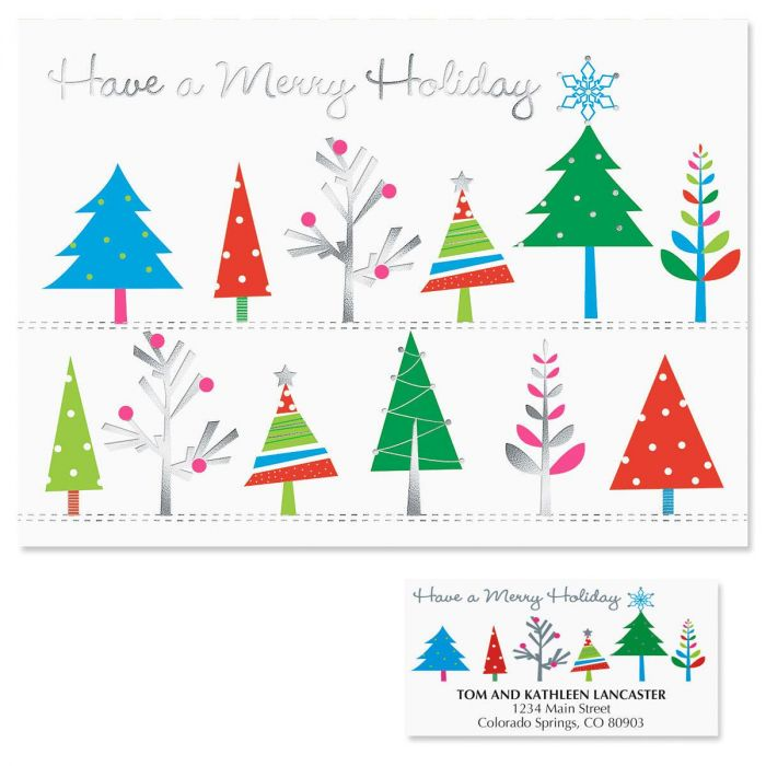 Whimsical Trees Deluxe Christmas Cards