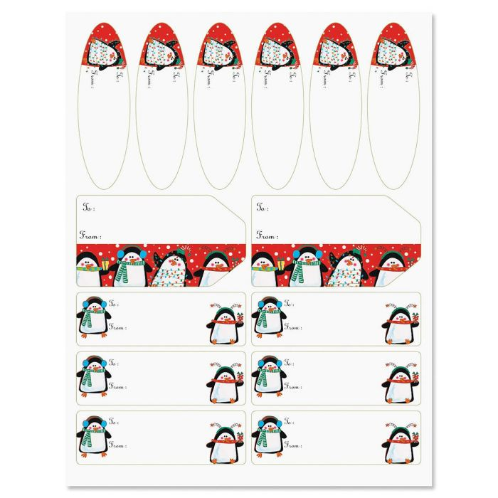 Festive Penguins Labels