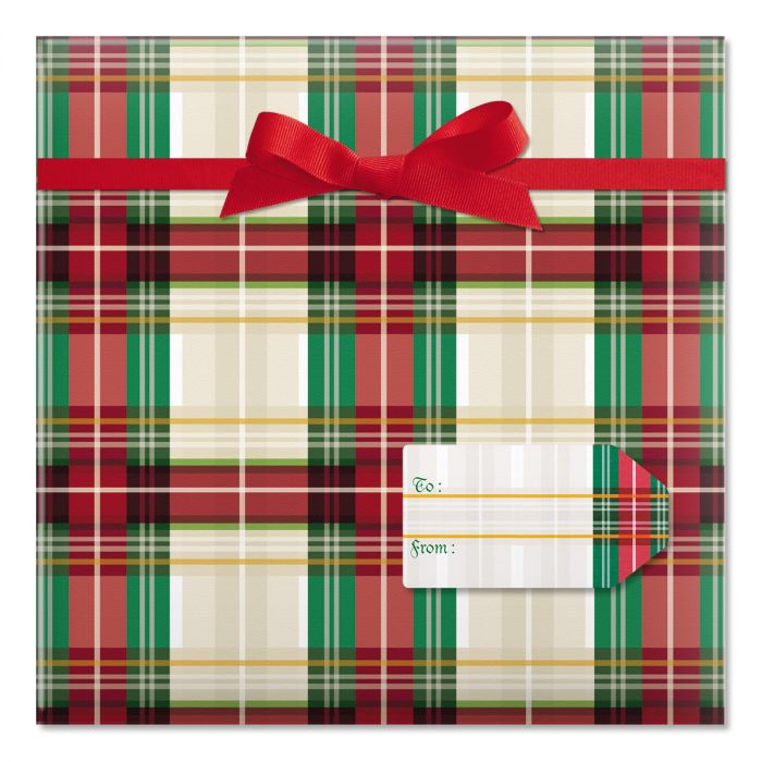 Classic Plaid Jumbo Rolled Gift Wrap and Labels