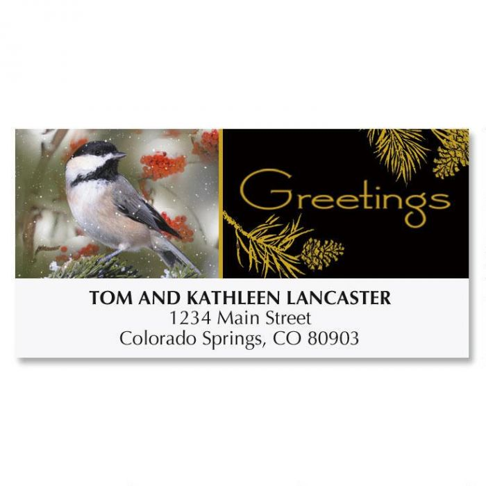 Chickadee Christmas Address Labels