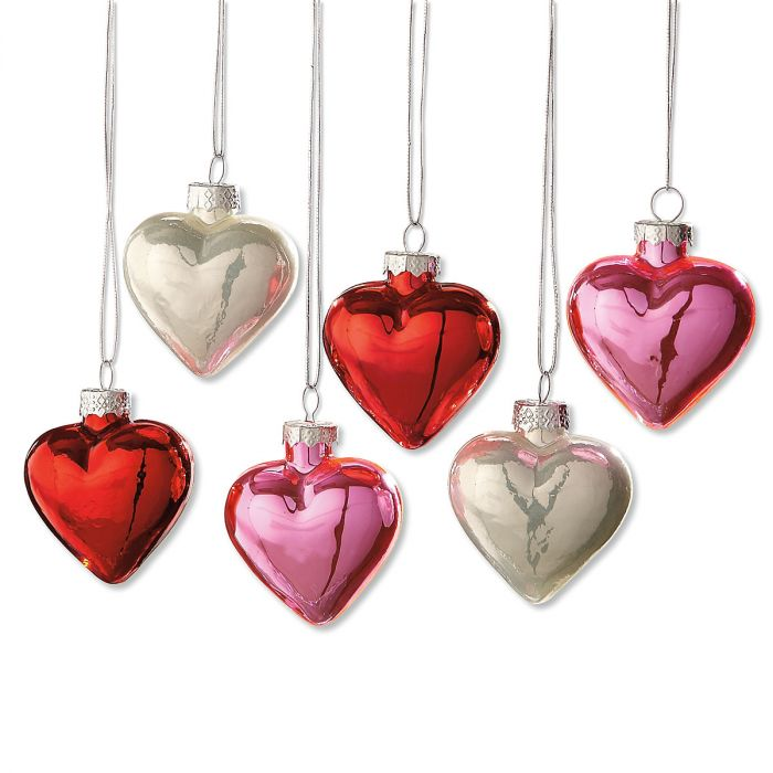 shiny glass heart ornaments christmas ornaments christmas