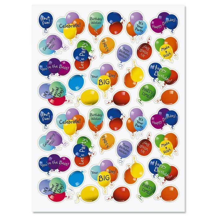 Balloon Birthday Party Stickers - BOGO