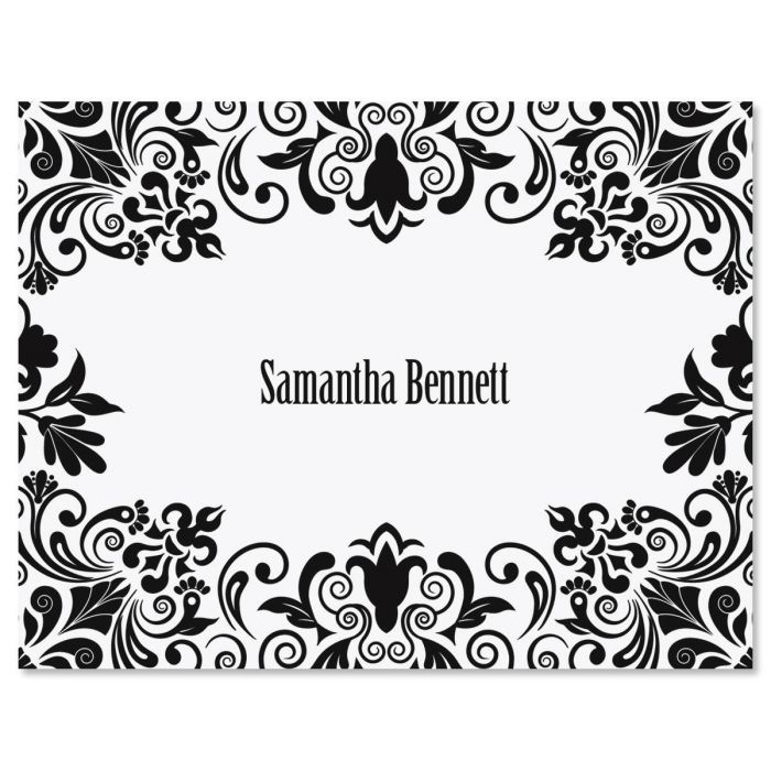 Damask Personalized Note Cards