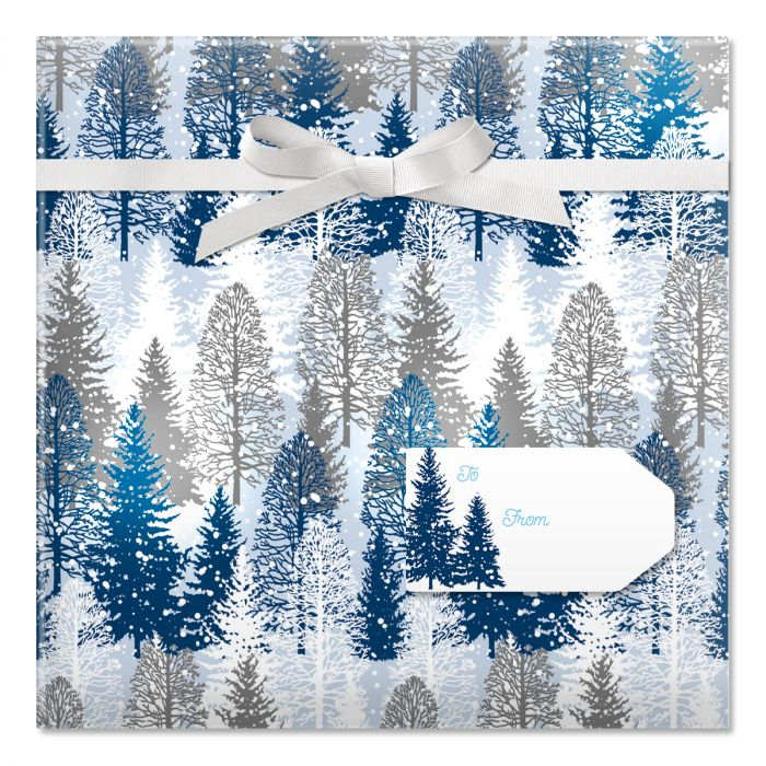 Snowy Trees Jumbo Rolled Gift Wrap and Labels