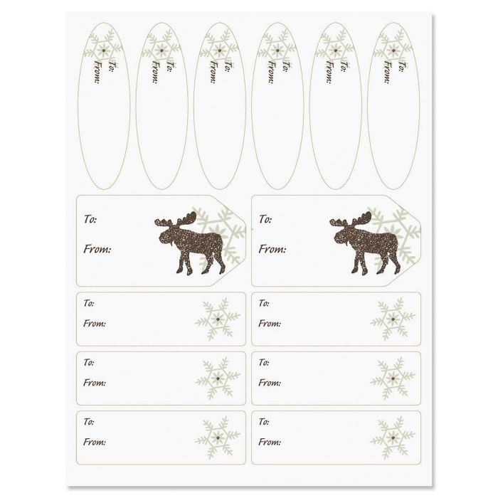 Moose & Snowflakes Labels