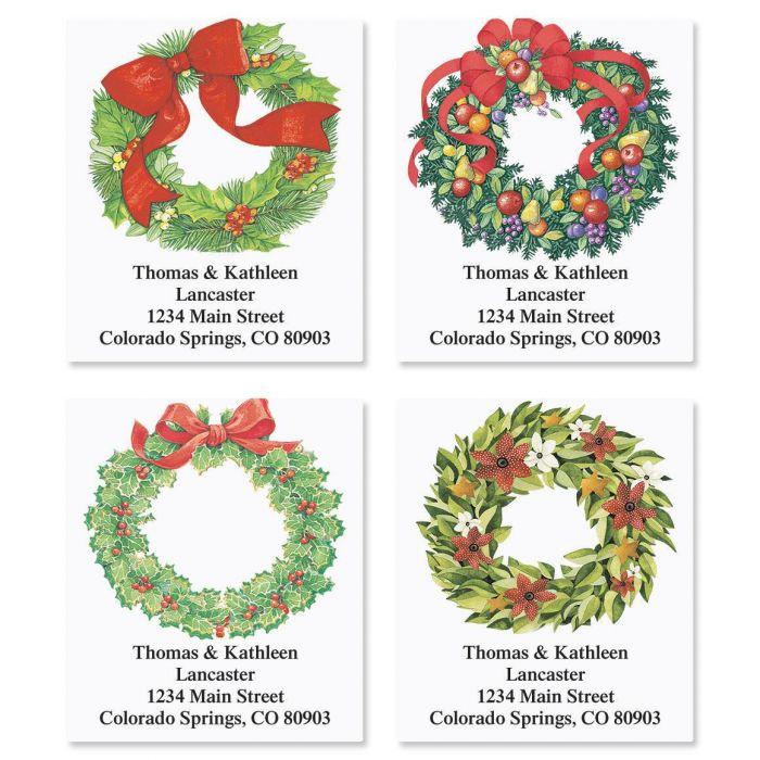 Christmas Wreath Address Labels  (4 designs)