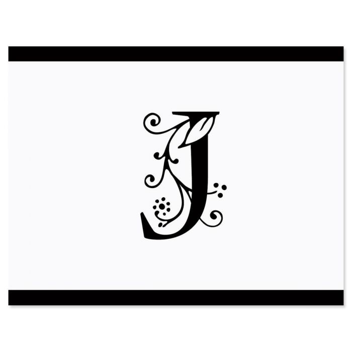 Formal Initial Personalized Note Cards