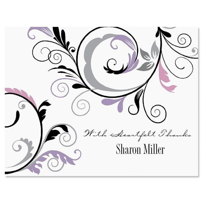 Black & Grey Fantasy Personalized Thank You Cards
