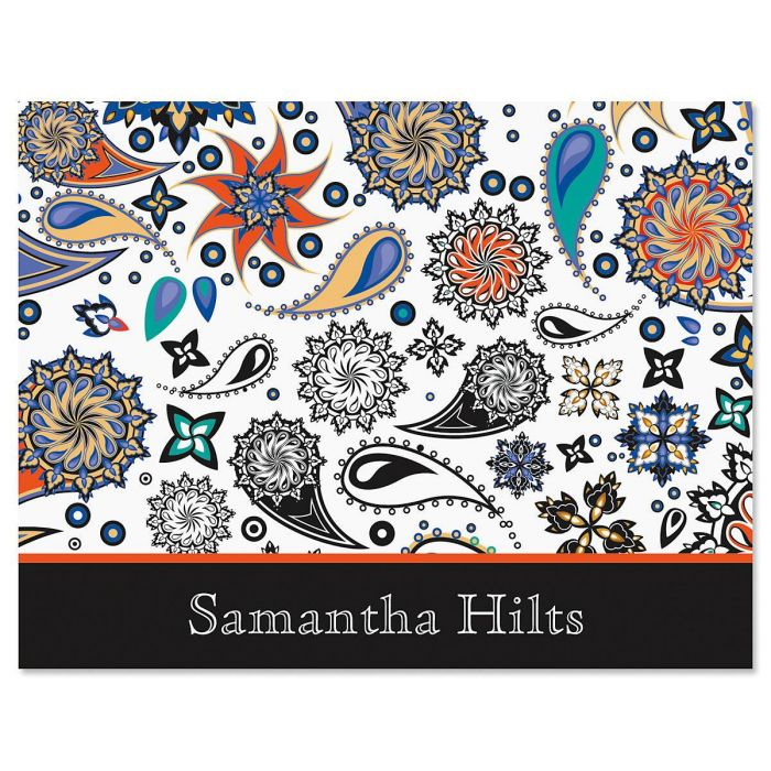 Color Paisley Personalized Note Cards