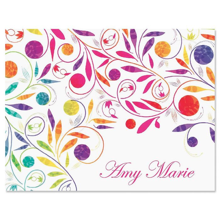 Color Swirl Personalized Note Cards