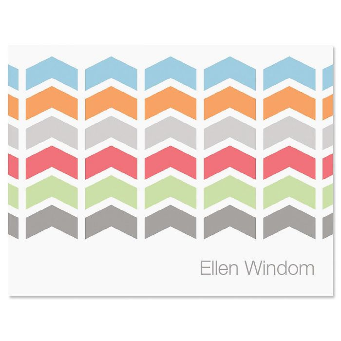 Chic Chevron Personalized Note Card