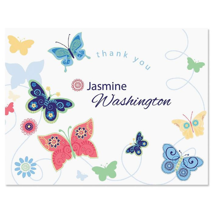 Delicate Butterflies Personalized Thank You Cards