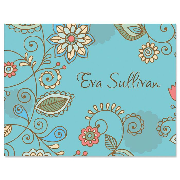 Paisley Blue Personalized Note Cards