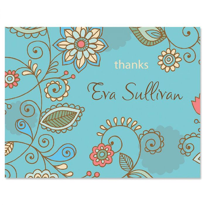 Paisley Blue Personalized Thank You Cards